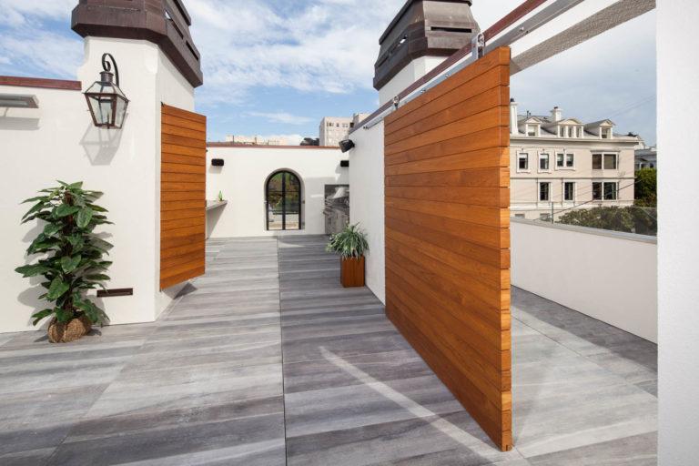 San Francisco Rooftop Kitchen - Teak Doors